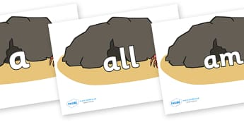 Foundation Stage 2 Keywords on Caves - FS2, CLL, keywords, Communication language and literacy,  Display, Key words, high frequency words, foundation stage literacy, DfES Letters and Sounds, Letters and Sounds, spelling