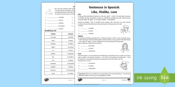 Sentences in Spanish Like, Dislike, Love - sentence, spanish, like, dislike, love