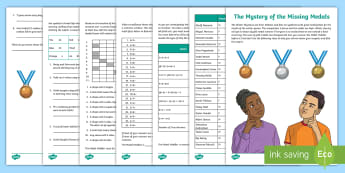 The Mystery of the Missing Medals Math Game - Olympics, South Korea, Properties, Multiplication, Division, Word Problems