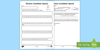 Election Candidate Speech Activity Sheet - general election, party leaders, Theresa May, Tim Farron, Jeremy Corbyn, Jeremy Corbin, Jeremy Corbe