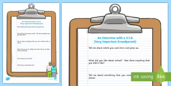 KS2 Interview with a V.I.G Worksheet / Activity Sheet - grandparent's day, interviewing, questions and answers, facts, non fiction , speaking and listening