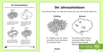 Der Jahreszeitenbaum Arbeitsblatt: Lesen und Malen - Baum, Frühling, Sommer, Herbst, Winter, Blätter, Blüten, tree, spring, summer, autumn, winter, le