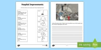 Florence Nightingale Hospital Improvements Worksheet / Activity Sheet - sheet, worksheet