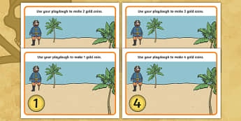 Pirate Numeracy Playdough Mats