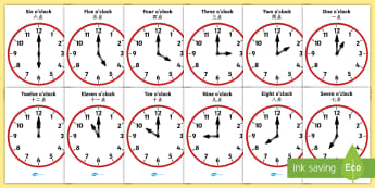 Analogue Clocks Hourly O' Clock Poster English/Mandarin Chinese - Analogue Clocks - Hourly O' Clock - Time resource, Time vocaulary, clock face, O'clock, half past,