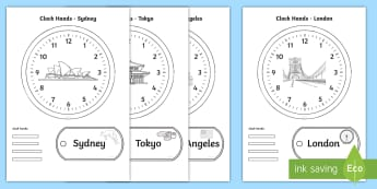 World Clocks Time Activity Pack - world clocks, timezones, international time zones, labels, clocks, games, measures, time,Irish