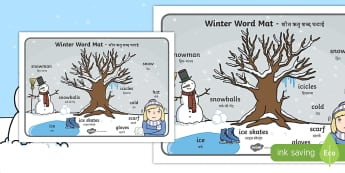 Winter Scene Word Mat English/Hindi - winter, vocabulary mat, word mat, key words, topic words, word poster, vocabulary poster, scene word