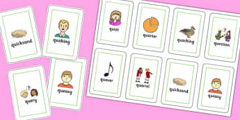 Two Syllable QU Playing Cards - speech sounds, phonology, articulation, speech therapy, cluster reduction