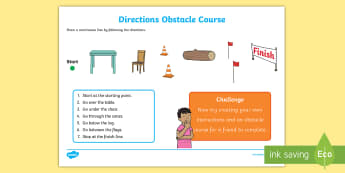 Foundation Direction Obstacle Course Activity Sheet - Mathematics, Foundation Year, Measurement and Geometry, Location and transformation, ACMMG010, direc