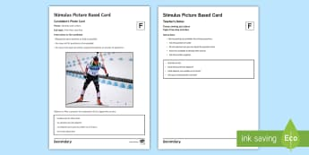 Winter Olympics Foundation Tier Photo Card Activity Spanish - speaking, gCSE, picture, talk, description, sports