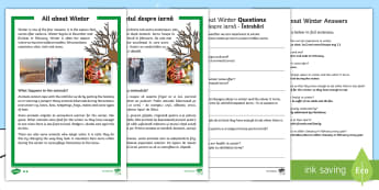 Winter Differentiated Reading Comprehension Activity English/Romanian - worksheets, winter, reading, comprehension questions, answers, KS1 reading EAL
