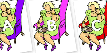 A-Z Alphabet on Mrs Wormwood to Support Teaching on Matilda - A-Z, A4, display, Alphabet frieze, Display letters, Letter posters, A-Z letters, Alphabet flashcards