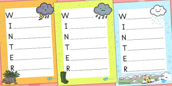 Winter Acrostic Poem Temperate - poems, poetry, seasons, weather