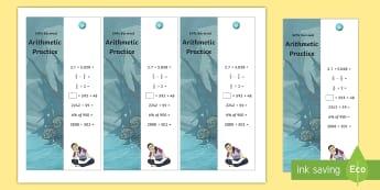 SATs Survival: Year 6 Arithmetic Practice Maths Bookmarks Pack 2 - sats survivial, sats revision, sats practice, sats practise, maths revision, arithmetic, mental calc