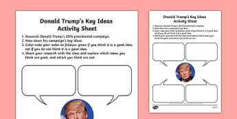 Donald Trump's Key Ideas Worksheet / Activity Sheet, worksheet