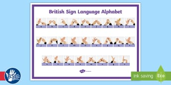 British Sign Language (BSL) Alphabet (Signer's View) Landscape Display Poster - learn bsl, bsl poster, bsl alphabet, deaf awareness