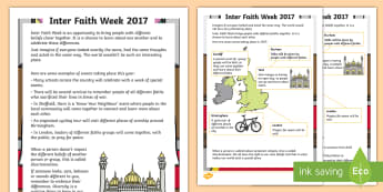 KS1 Inter Faith Week 2017 Differentiated Reading Comprehension Activity - ks1 r.e, different religions, diversity, our community, differences, discrimination, celebrating oth