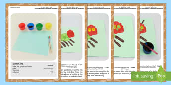 andprint Craft Instructions to Support Teaching on The Very Hungry Caterpillar Arabic/English - The Very Hungry Caterpillar Handprint Craft Instructions - minibeasts, craft, the very hungry caterp