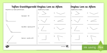 Taflen Gweithgaredd Onglau Lem ac Aflem - WL Social Media Requests in Welsh KS2 (HIGH PRIORITY) Onglau Lem ac Aflem