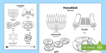 Hanukkah Words and Pictures Colouring Page English/Portuguese - Hanukkah, Jew, Judaism, celebration, light, festival, Jewish, RE, religion, eal