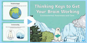 Environmental Awareness and Care Thinking Keys PowerPoint - science, environmental awareness and care, thinking keys, thinkers keys, critical thinking, question