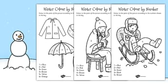 Winter Colour by Number - winter, colour, numbers, activity
