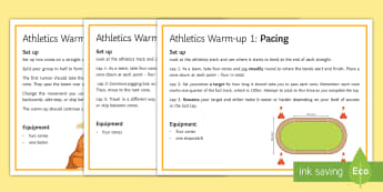 Athletics: Track Warm-up Cards  - Running, Sprint, Timer, stopwatch, pacing, pe, atheltics, physical education
