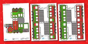 3D Christmas Train Paper Model Display - 3d, christmas train, paper model, paper craft, display