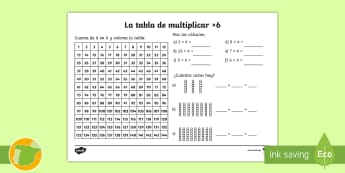 Ficha de actividad: La tabla de multiplicar x6 - tabla de multiplicar, múltiplos, ficha, mates, matemáticas, x6, por seis, multiplicar, multiplicac