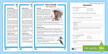 KS2 Dara Howell 2018 Winter Olympic Athlete Differentiated Reading Comprehension Activity - guided reading, pyeongchang, freestyle skiing, canadian athlete, winter olympics comprehension