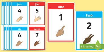 British Sign Language Number Flash Cards - british sign language, sign language, bsl, flash cards, flashcards