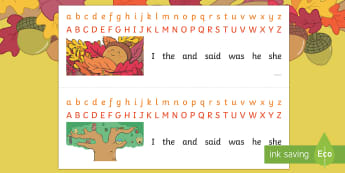 Little Acorns Alphabet Strips - Twinkl Originals, Fiction, autumn, trees, life cycle, Spelling, Writing Aid, Abc, Display, Table Top
