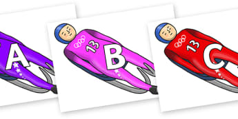 A-Z Alphabet on Luge - A-Z, A4, display, Alphabet frieze, Display letters, Letter posters, A-Z letters, Alphabet flashcards