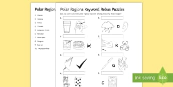 Polar Regions Keywords Rebus Puzzles Activity Sheet - polar regions, guess, key terms, dingbats, picture puzzles