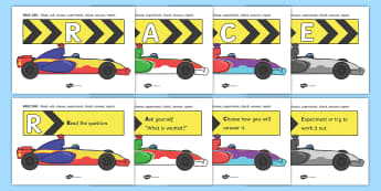 RACE CAR Problem Solving Display Posters - RACE CAR, race car, problem solving, problems, solving problems, solutions, display, poster, sign, banner, solve, problem, solution, solving