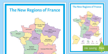 The New Regions of France Display Poster - display, poster, regions, France, classroom, organisation,French