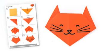 Origami Cat Activity - origami, cat, activity, paper, craft, model