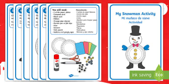 My Snowman Craft Instructions English/Spanish - snowman, christmas, xmas, how to make a snowman, snowman craft, craft, EAL