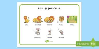 Leul și șoricelul Planșă cu vocabular - esop, fabule, fabulă, scriere, ortografie, idei principale, comunicare, dezvoltare personală, Roma