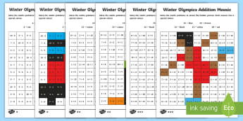 KS1 Winter Olympics Addition and Subtraction Mosaic Activity Sheets - Korea, Number bonds, Calculations, Sporting Event, Solve, worksheets
