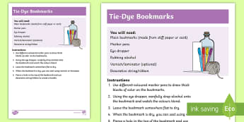 Tie-Dye Bookmarks  - bookmarks, fun, colourful, experimental, markers