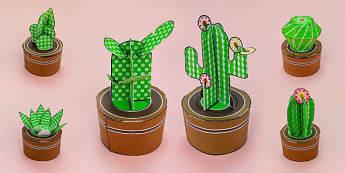 Simple 3D Printable Cactus Pack - printable, print, simple, 3d, cactus, pack, display, activity, paper model, paper, model, paper craft, craft