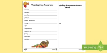 Thanksgiving Anagrams Worksheet / Activity Sheet