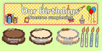 Editable Birthday Display Set (Cakes) Spanish Translation--translation