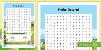Easter Word Search - Ostern, Easter, Spring, German, Word Search, Wordsearch