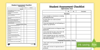Informative Text: Student Assessment Checklist - literacy, checklist, informative text, ACELY1714, text types, types of text,Australia