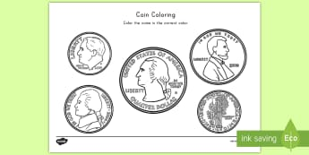 Coin Coloring Worksheet / Activity Sheet - color, coloring, money, coins, math, activity, dimes, nickels, pennies, quarters, worksheet