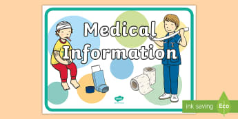 Medical Information Display Poster -  - Medical Information Display Banner  - medical information, inhalers, dietry, allergy, allergy inform