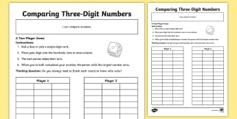 Three Digit Numbers / Greater Than / Less Than Worksheets 3 digits