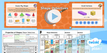 * NEW * PlanIt Maths Y2 Properties of Shapes Lesson Pack 3D Shapes (3) - identify and describe, edges, vertices, faces, concrete, abstract, pictorial, planning unit, plannin